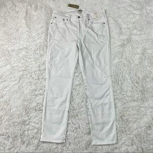 "J Crew 9"" vintage slim straight jean in white 30"